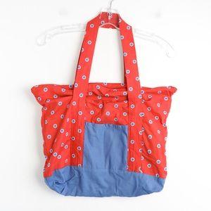 Red blue polka dot tote shopping bag zipper cotton